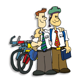 Image result for mormon missionaries bicycles cartoon