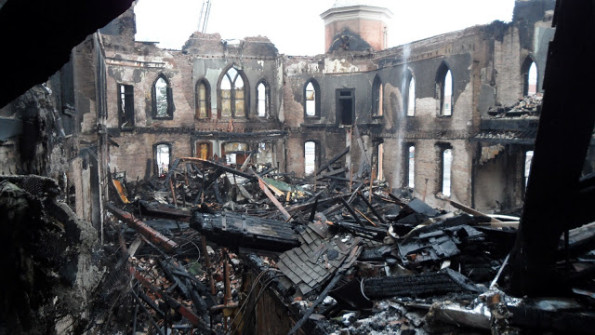The inside of the Provo Tabernacle after the fire - Picture courtesy of Provo Insider